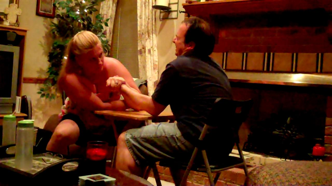 Char and Louis during an Arm Wrestling Match