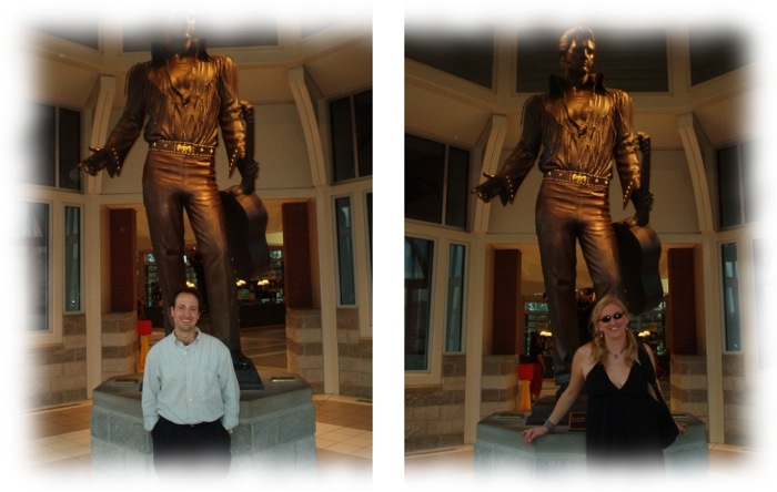 Louis and Char at the Elvis Statue at the Welcome Center in Downtown Memphis