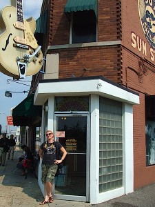 "Where it all began.  Char stands outside Sun Studio, where Elvis Presley recorded ""That's All Right, Mama"" and catapulted Rock n Roll into an unstoppable force."