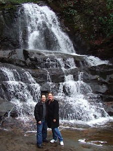 The Traveling Twosome at Laurel Falls in Great Smoky Mountains National Park.