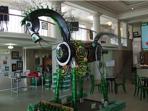 A horse stands in the lobby of the Mountain Valley Spring Water Museum.