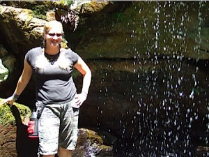 Char at one of the waterfalls in Garvan Woodland Gardens