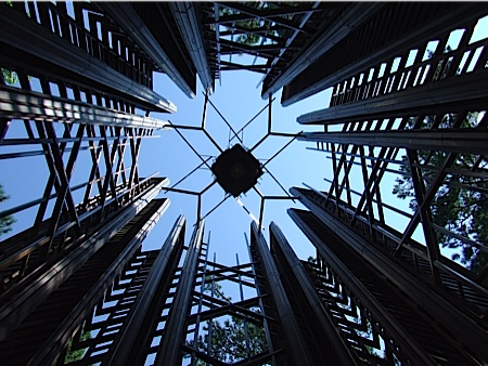 At the base of the carillon tower looking up