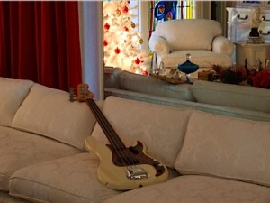 One of Elvis' bass guitars on display in the Graceland living room.