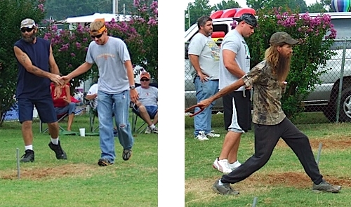 Hank Williams Jr. and a Grateful Dead follower play horseshoes at the International Goat Days Festival.