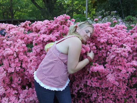 Char and the azaleas at Oaklawn Garden in Germantown