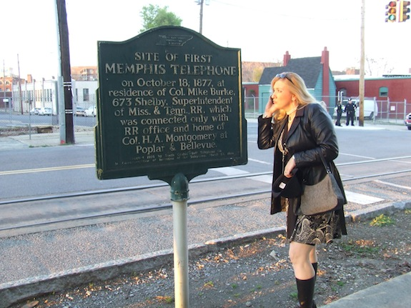 Char at the site of the first telephone in Memphis, TN