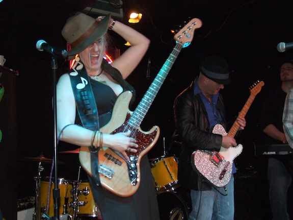 Char on the bass guitar with Brad Birkedahl and his Burning Love Band