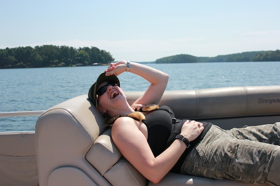 Char relaxes on the boat as we tour Lake Hamilton.