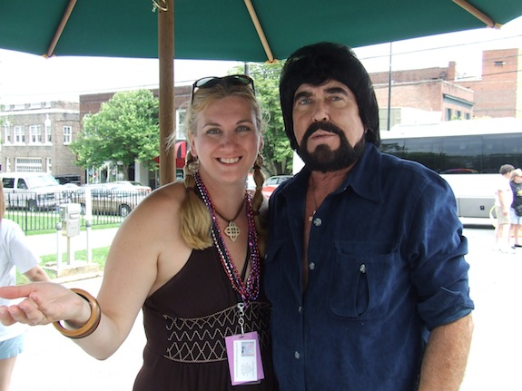 Char hangs out with Elvis fan and acquaintance Alan Wade at the Tupelo Elvis Festival