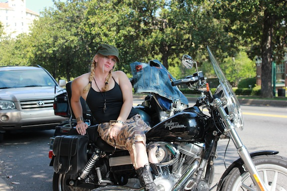Char Magnifico on a Harley Davidson