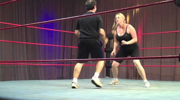 Char and Louis in a mixed gender wrestling match during the 2011 Traveling Twosome Olympics!