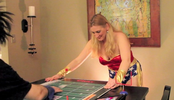 Louis and Char playing paper football... in costume!