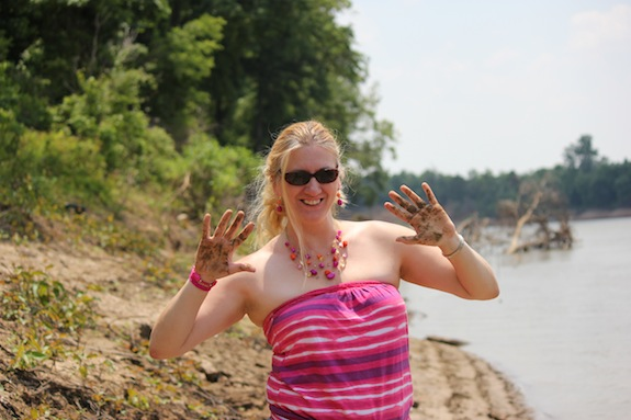 The White River was the perfect spot for Char to showcase her mud wrestling skills!