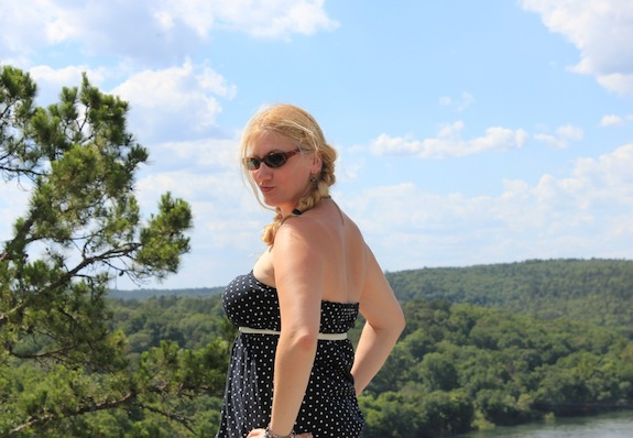 Char Magnifico in the Ozarks. Char looks out over the valley near Calico Rock, Arkansas.