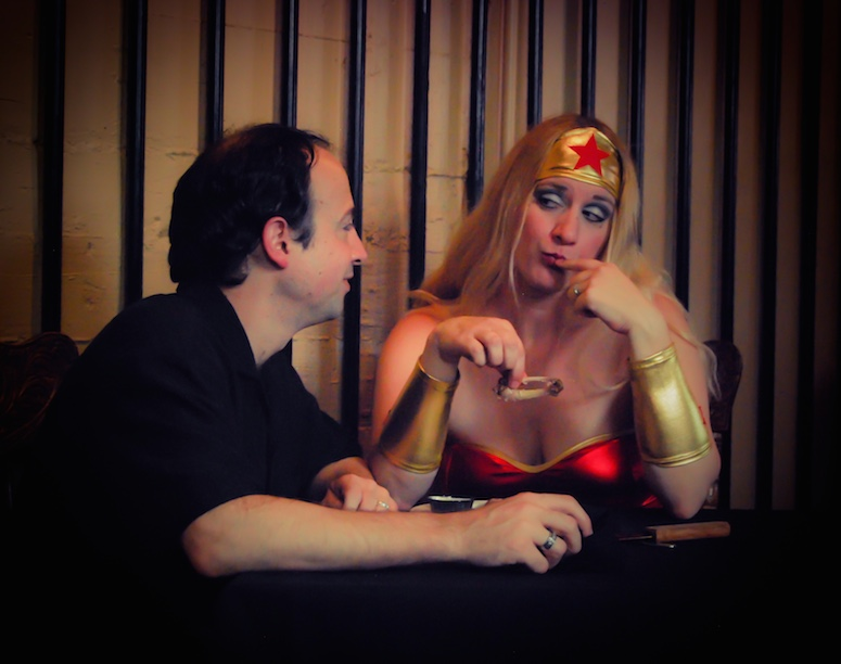 Char Magnifico as Wonder Woman having dinner with Louis Magnifico