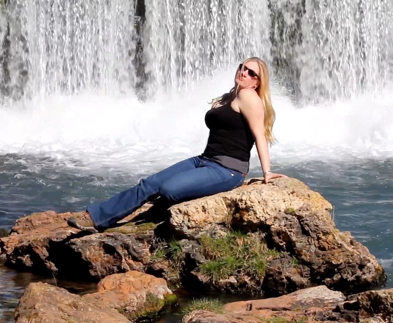 Char Magnifico under the waterfall at Mammoth Spring Arkansas State Park