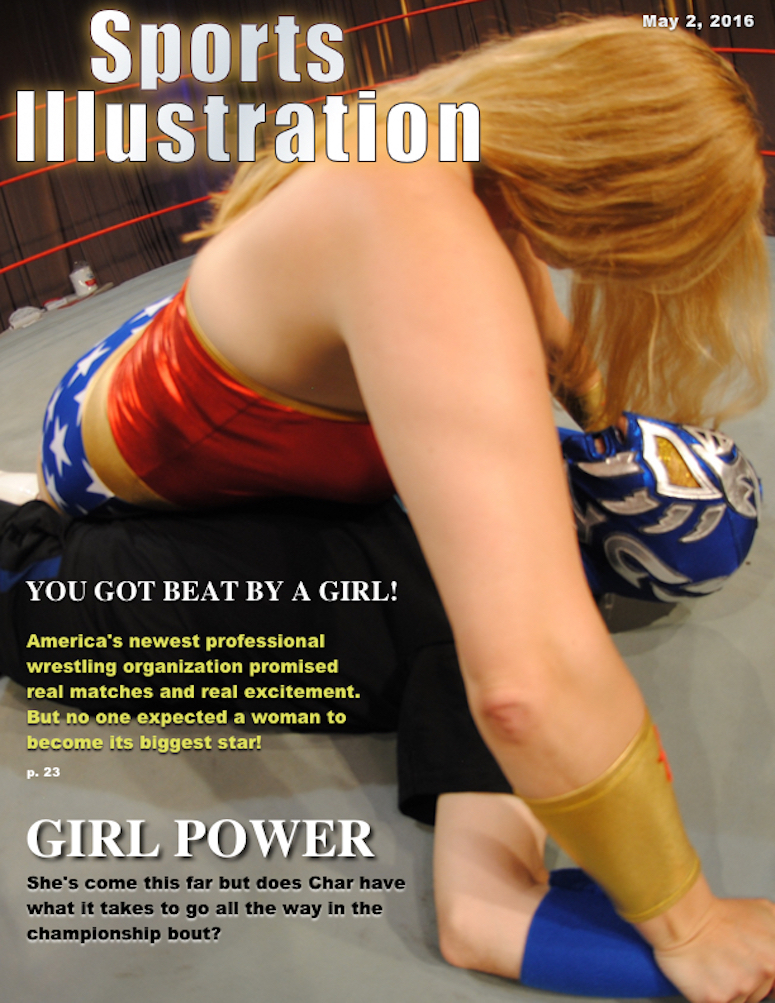 Char as Wonder Woman on a Mixed Wrestling Sports Illustrated Parody Cover