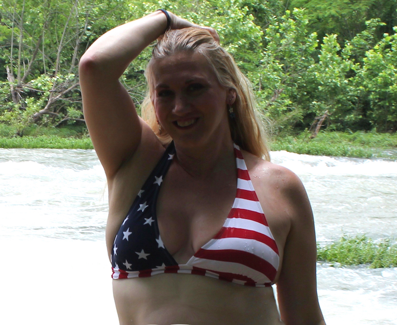 Char Magnifico in her American Flag bikini on the Spring River in Hardy Arkansas