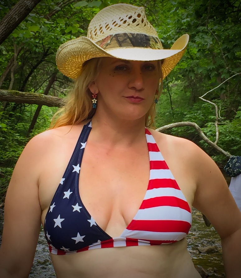 Char Magnifico in American Flag bikini