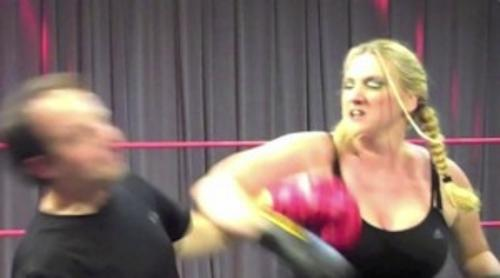 The Traveling Twosome will try just about anything... once. This shot captured the next to last hit in our recent boxing match. A follow up left-hand hook ended the match at Ken Wayne's School of Professional Wrestling.