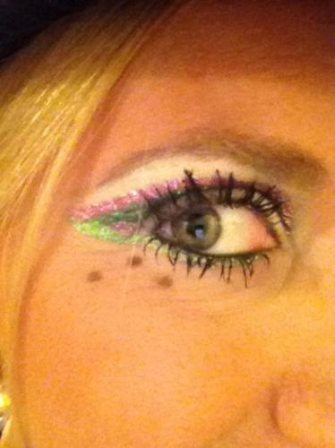 Char's eye makeup for a Vintage gig