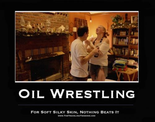 oil wrestling sign copy